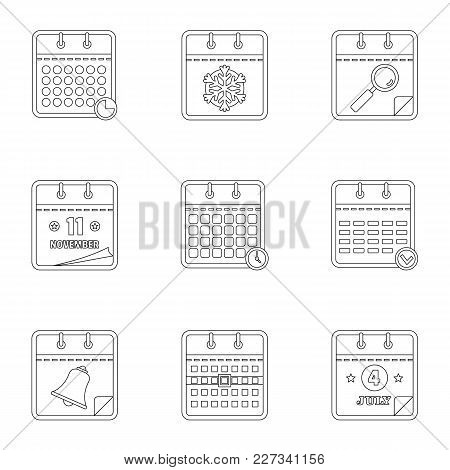 Datebook Icons Set. Outline Set Of 9 Datebook Vector Icons For Web Isolated On White Background