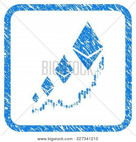 Ethereum Growth Chart Rubber Seal Stamp Imitation. Icon Vector Symbol With Grunge Design And Corrosi