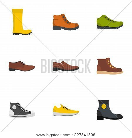 Pair Of Shoes Icons Set. Flat Set Of 9 Pair Of Shoes Vector Icons For Web Isolated On White Backgrou