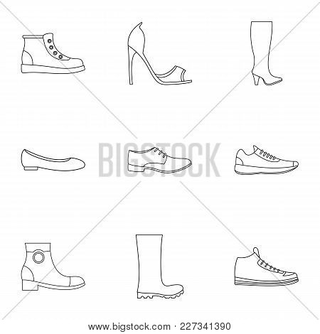 Sandal Icons Set. Outline Set Of 9 Sandal Vector Icons For Web Isolated On White Background