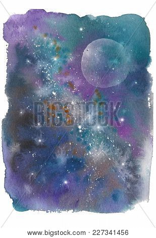 Drawing With Watercolor Space With Stars And Planets Of Milky Way