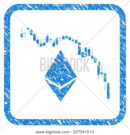 Ethereum Fall Chart Rubber Seal Stamp Imitation. Icon Vector Symbol With Grunge Design And Corrosion