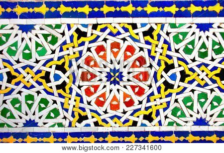 Detail of traditional moroccan mosaic wall, Morocco, North Africa
