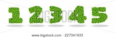 Numeral From The Leaves Of The Clover. Numeral 1-5. For The Design Of St. Patricks Day. Advertising,