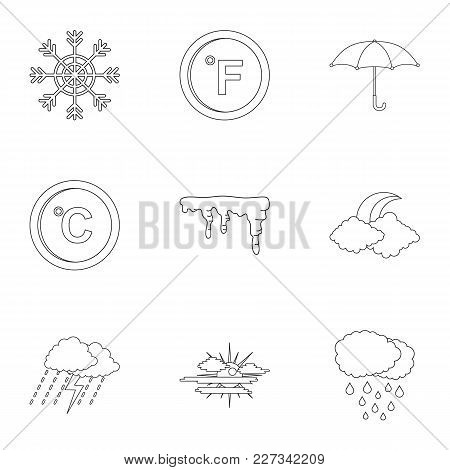 Meteorological Observation Icons Set. Outline Set Of 9 Meteorological Observation Vector Icons For W