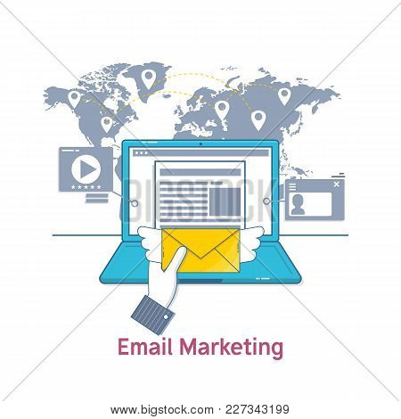 E-mail Marketing, Mailing, News Letter Advertising.flat Line Icon Concept Of Web Page. Isolated Vect