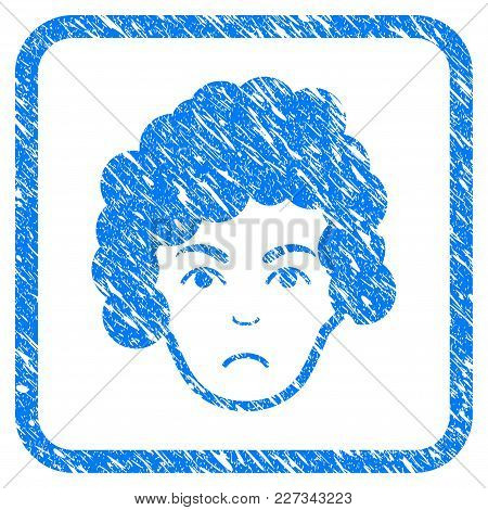 Hairstyle Head Rubber Seal Stamp Imitation. Icon Vector Symbol With Grunge Design And Dirty Texture