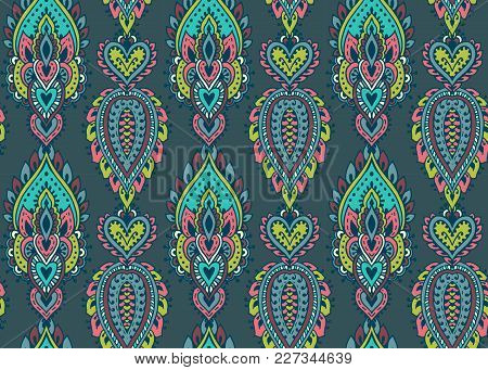 Vector Seamless Pattern With Hand Drawn Henna Mehndi Floral Elements. Beautiful Colorful Endless Bac