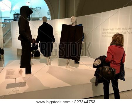 LONDON - FEBRUARY 17, 2017: Garments on display at the Balenciaga exhibition at The Victoria & Albert Museum in South Kensington, London, UK.