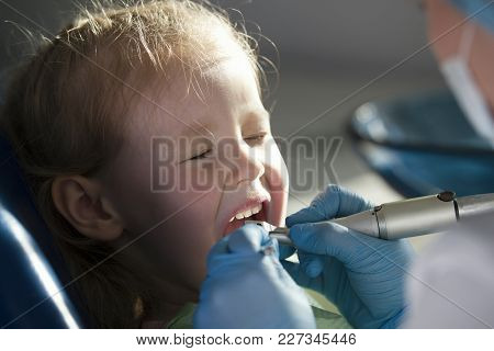 Little Child In Stomatology Chair - Close Up Shot