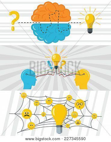Brainstorm Creative Banner Concept Set. Flat Illustration Of 3 Brainstorm Creative Vector Banner Hor