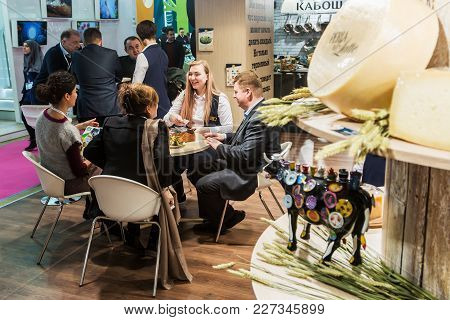 Moscow, Russia - February 5, 2018: 25th International Exhibition Of Food, Beverages And Raw Material