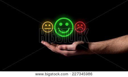 Hand Show On Smile Sign Of Positive Concept
