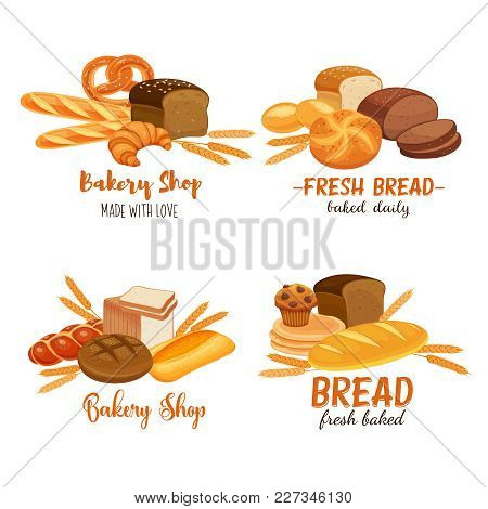Banner Template Food With Bread Products. Rye Bread And Pretzel, Muffin, Pita, Ciabatta And Croissan