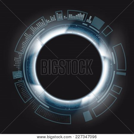 Design Of Round Hud Background. Futuristic Technological Backdrop. Stock Vector Geometric Line Illus