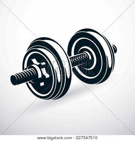 Dumbbell Vector Illustration Isolated On White With Disc Weight. Sport Equipment For Power Lifting A