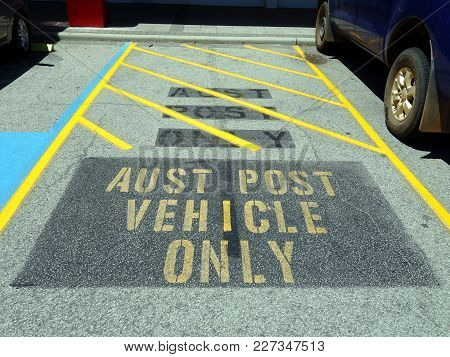 Darlington, Western Australia-dec 23, 2017:  A Reserved Parking Space For Australian Post Vehicles L