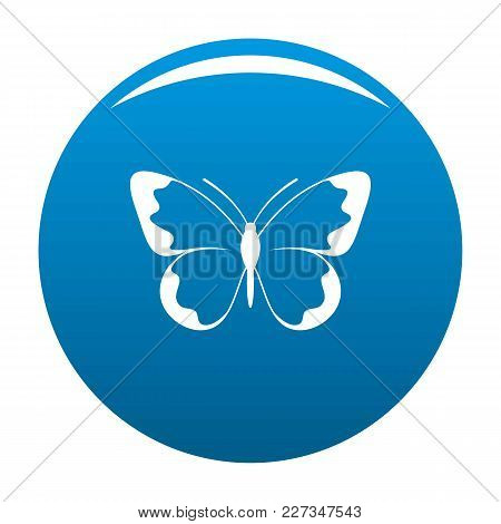 Small Butterfly Icon Vector Blue Circle Isolated On White Background