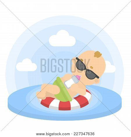 Baby Boy Swimming In The Floating Ring In Sunglasses.