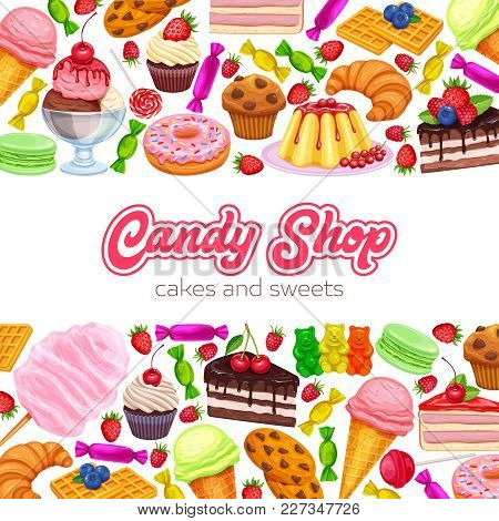 Vector Page Design Confectionery And Sweets Icons. Donut And Cotton Candy, Muffin, Waffles, Biscuits
