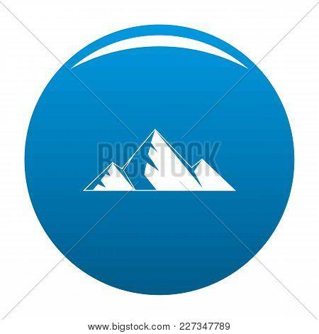 Mountain Peak Icon Vector Blue Circle Isolated On White Background