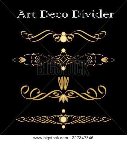Vintage Typographic Divider In Art Deco Design, Luxurious Gold Decorative Separator Design Elements