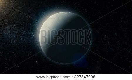 View Of Enceladus, One Of The Moons Of Saturn. Elements Of This Furnished By Nasa.