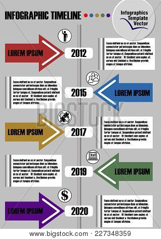 Infographic Timeline Visualization Template, Abstract Vector With Arrows, Icons And Copy Space, Seve