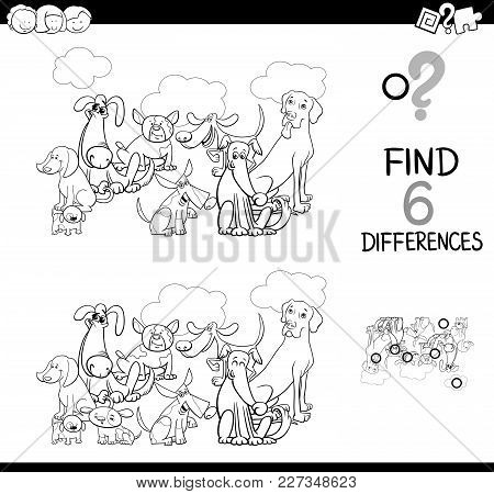Differences Game With Dogs Animals Coloring Book