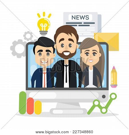 Business Team On Computer Screen With Data.