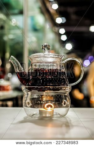 Ornate Glass Teapot With Tee Light Candle