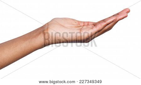 Holding Or Offering. Outstretched Female Hand, African-american Woman Keeping Empty Palm On White Is