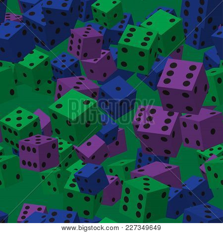 Color Dice Seamless Pattern On Green Background