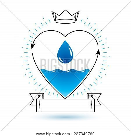 Vector Blue Clear Water Drop Logotype For Use As Marketing Design Symbol. Living In Harmony With Nat