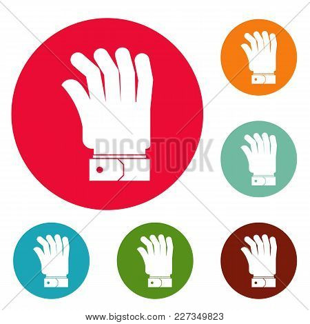 Hand Icons Circle Set Vector Isolated On White Background