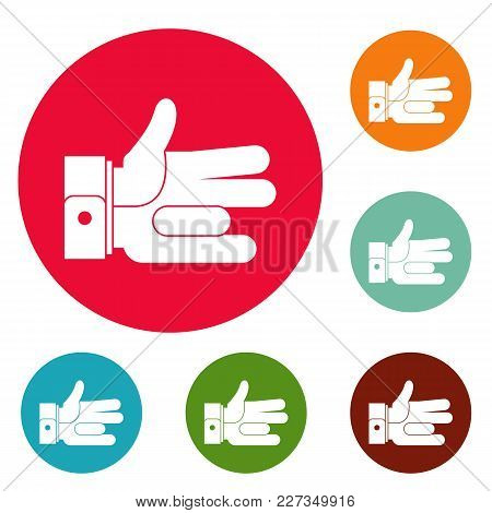 Hand Abstract Icons Circle Set Vector Isolated On White Background