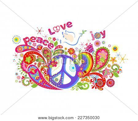 Colorful T-shirt print with hippie peace symbol, flying dove with olive branch, abstract flowers, paisley and rainbow on white background