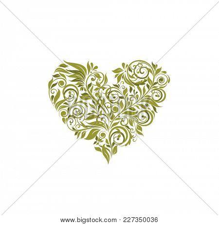 Floral olive heart shape on white background