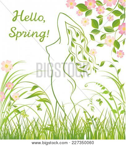 Spring floral green background with beautiful nymph silhouette and apple-tree blossom