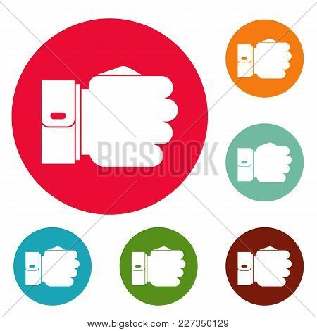 Hand Fist Icons Circle Set Vector Isolated On White Background