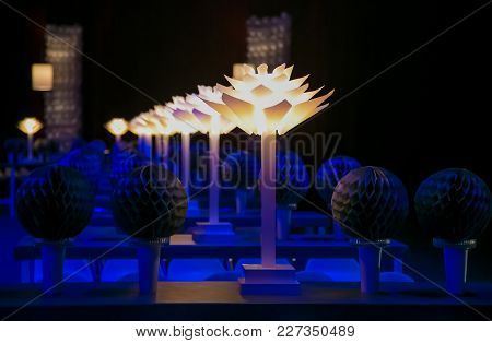 Blue And White Decorative Lights At An Event