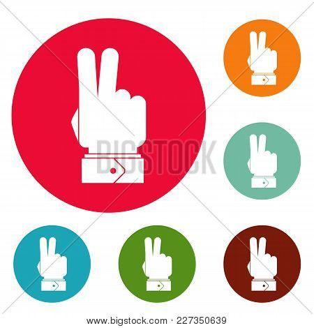 Hand Hey Icons Circle Set Vector Isolated On White Background