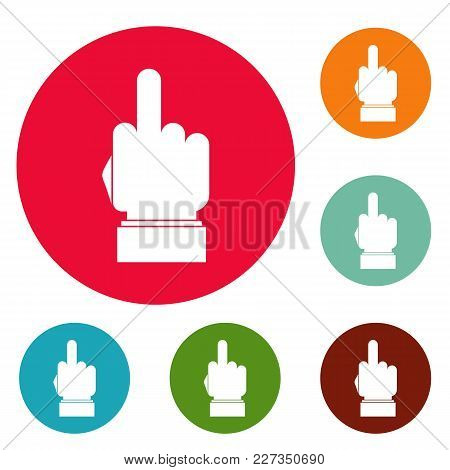 Hand Censorship Icons Circle Set Vector Isolated On White Background