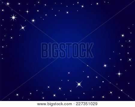 Blue Space Stars Vector Background ,night Sky. Vector Outer Space Backdrop With Place For Text