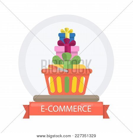 E-commerce Concept Illustration With Basket And Gifts.