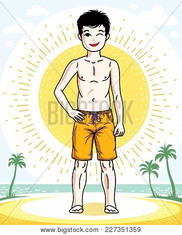 Child Young Teen Boy Cute Standing In Colorful Stylish Beach Shorts. Vector Human Illustration. Fash