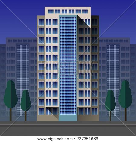 Modern, Contemporary Layered Skyscraper, High Rise Building, Flat Vector Illustration Isolated On Ci