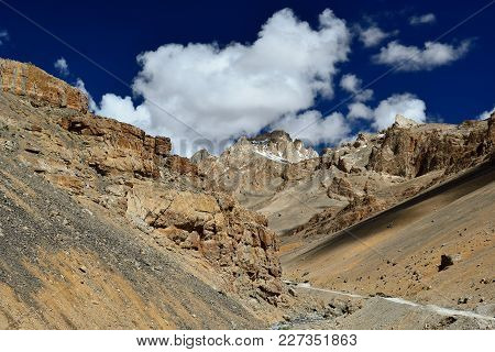 Views On High Mountains From The Route Between The Manali City And The Leh City Located In Ladakh. T