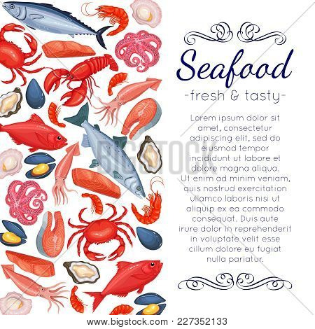 Template Seafood Page Design With Mussel, Fish Salmon, Shrimp. Lobster, Squid, Octopus, Scallop, Lob