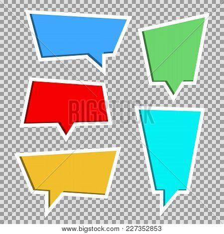 Vector Collection Of Color Paper Cut Out Speech Bubbles,set. Paper Cut Style. 3d Elements With Shado